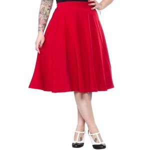 Modcloth Steady Clothing Red Circle Skirt